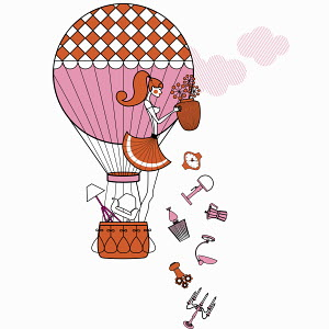 Fashionable woman in hot air balloon throwing away furniture and accessories