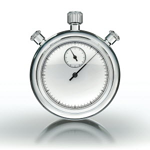 Glass stopwatch on white background