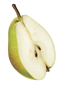 Fresh green pear half on white background