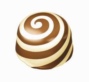Chocolate truffle with white chocolate swirl