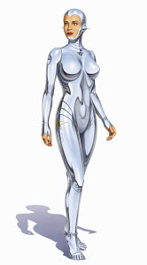 Woman android with human face and metal body