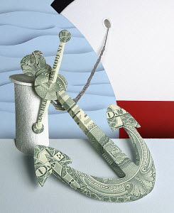 Ship's anchor made from dollar bills by Gail Armstrong