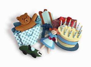 Birthday cake and children's presents