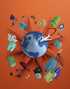 TGS logo with travel items orbitting the globe all made in 3D paper