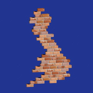 Brick wall in shape of United Kingdom