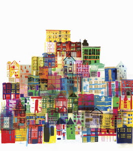 Montage of bright multicolored buildings