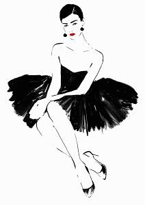 Beautiful elegant woman wearing strapless black dress