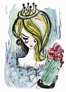 Beautiful woman wearing tiara holding bouquet