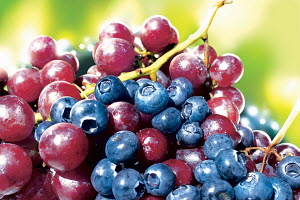 Blueberries and red grapes