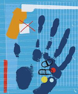 Handprint holding medicine