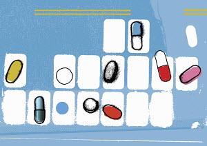 Various pills in pill organizer