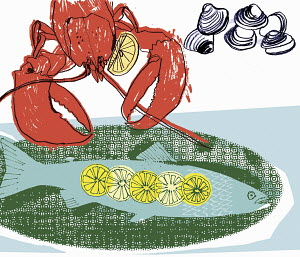 Lobster, fish and shellfish with slices of lemon