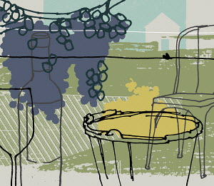 Purple grapes growing on grapevine with table, chair, wine bottle and wine glass in vineyard