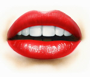 Close up of mouth, teeth and red lips