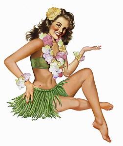 Retro vintage pin-up girl in hawaiian costume