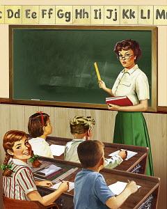 Retro vintage elementary school teacher and pupils in classroom