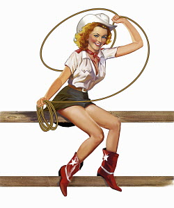 Retro vintage pin-up girl in cowgirl costume
