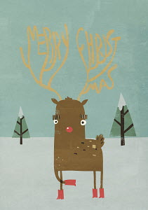 Red nose reindeer with Merry Christmas antlers
