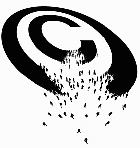 Copyright symbol breaking up into lots of people