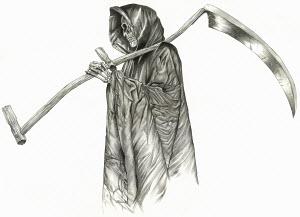 The grim reaper skeleton in cape carrying scythe