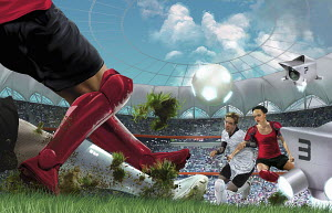 Futuristic game of soccer in stadium