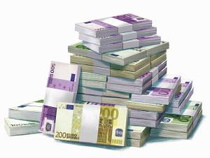 Large pile of European Union banknotes