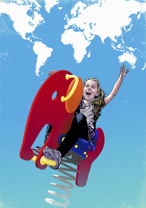 Happy girl playing on spring ride with world map clouds