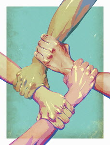 Four arms interlocked in unity