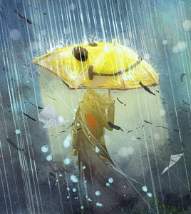 Happy woman with smiley face umbrella in rain storm