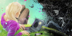 Woman using laptop outdoors with binary code time bomb on screen and security camera in ominous cloud ahead