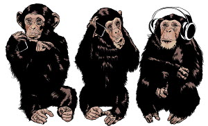Three monkeys see no evil, hear no evil, speak no evil using modern technology