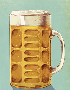 Beer glass with lager