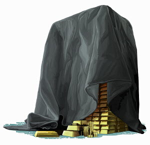 Cloth hiding pile of gold bars and coins