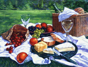 Wine, bread, cheese, and fruit ready on picnic blanket
