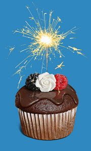Chocolate cupcake with sparkler