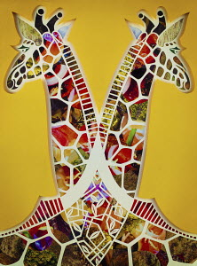 Paper collage of two symmetrical giraffes