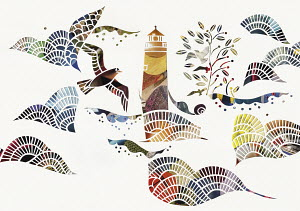 Birds and waves around lighthouse at sea