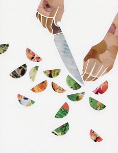 Hand slicing food with sharp knife