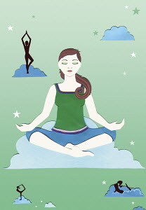 Woman meditating sitting in lotus position on cloud