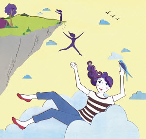 Woman jumping off cliff and landing on cloud