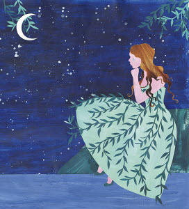 Sad young women crying at night wearing weeping willow pattern dress