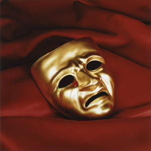 Tragedy mask crying tear of blood