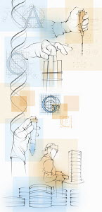 Montage of scientists and genetic research