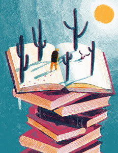 Man walking across desert on open page on top of pile of books