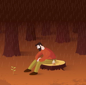 New leaves growing as sign of hope to depressed man sitting alone on tree stump in rain