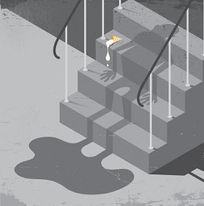 Dropped ice cream cone and man's shadow melting on flight of stairs