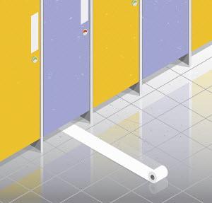 Toilet roll rolling from under public toilet door