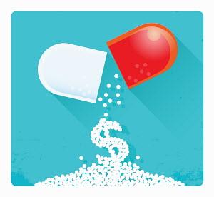 Dollar sign falling from broken pill capsule