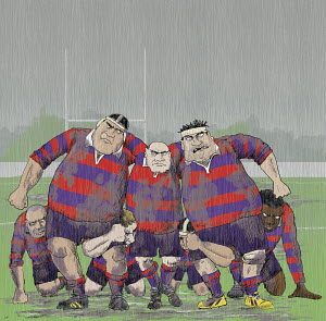 Snarling aggressive older rugby players forming scrum
