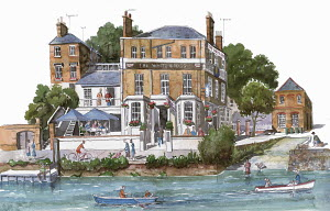 Watercolor painting of the White Cross pub, Richmond, Richmond Upon Thames
